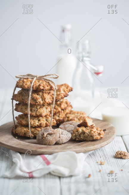 Oatmeal cookies tied with string