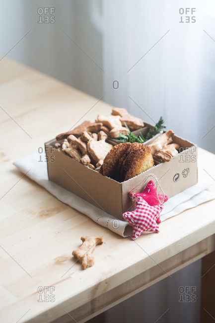 Cookies in box on table corner