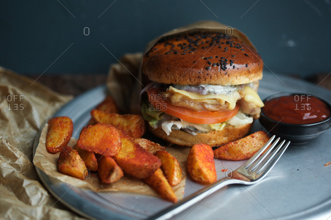 Thick cut fries and a burger