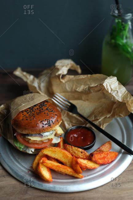 Hamburger and fries meal