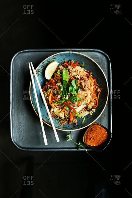 Pad Thai dish in bowl