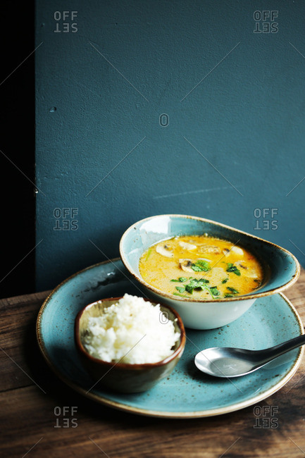 A soup with rice