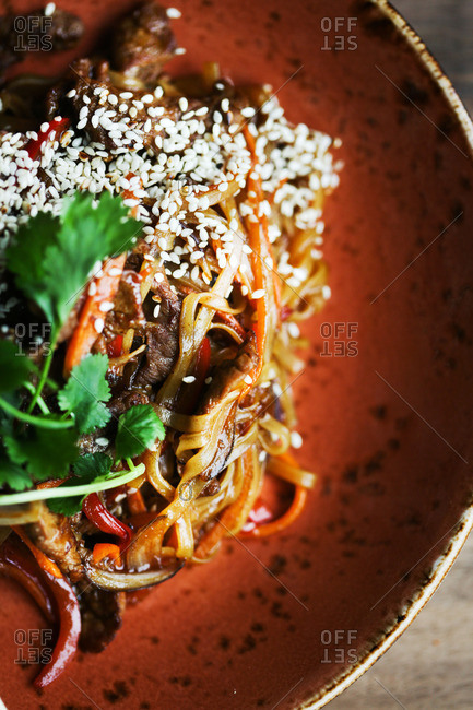A noodle dish with seeds
