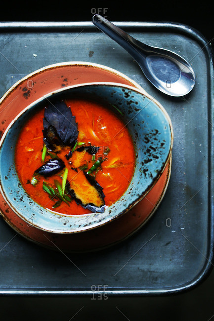 Soup with purple spinach