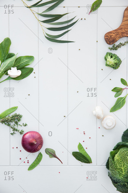 Fresh veggies on a white background