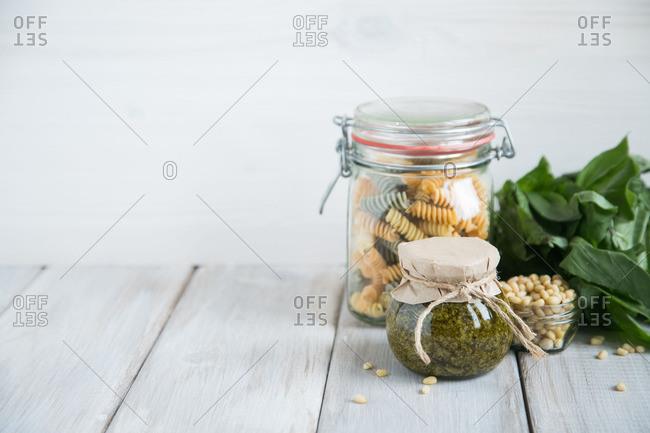 Pasta ingredients in jars