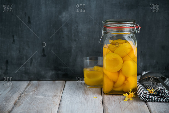 Fruit in glass and jar