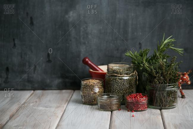Herbs and ingredients in jars