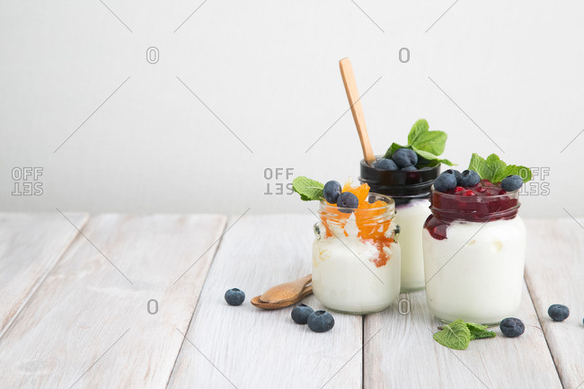 Fruit and jam with yogurt