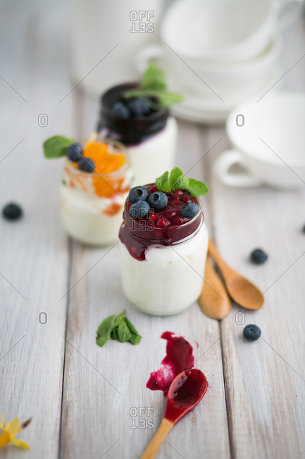 Jars of fruit and yogurt
