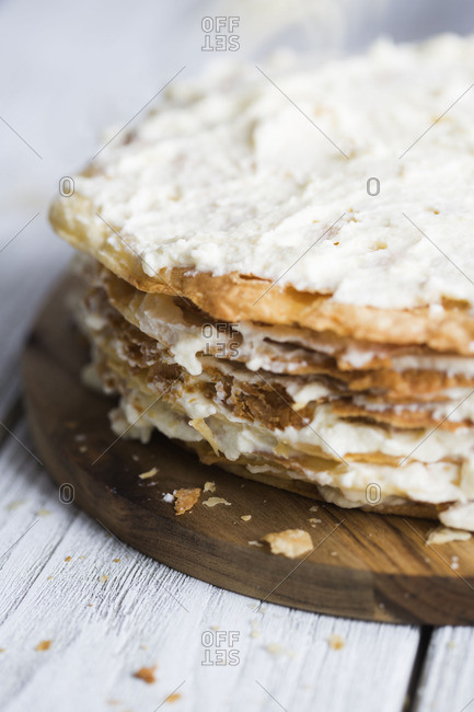 Close up of mille feuille cake