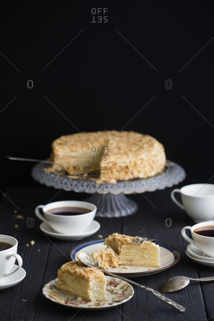 Tea with mille feuille cake
