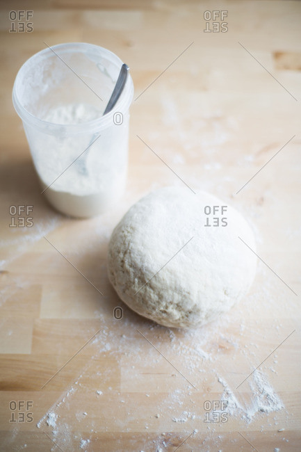 Raw pizza dough in ball