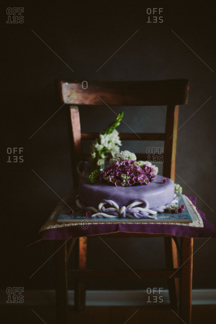 Purple cake with flowers