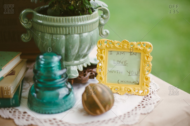Message in a frame at a backyard bridal shower