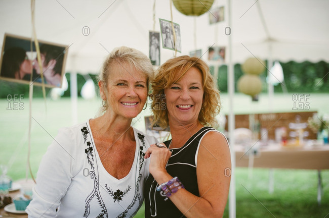 Two happy guests at a bridal shower
