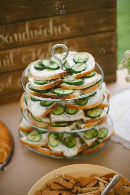 Snacks at a rustic backyard bridal shower