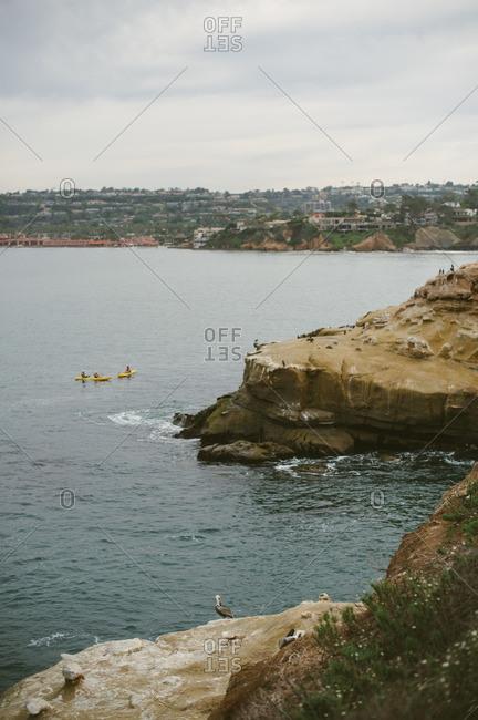 People kayaking off the coast of California