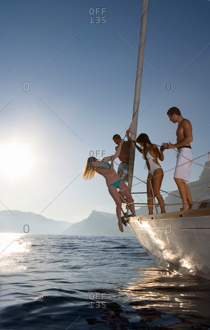 Group on sailboat