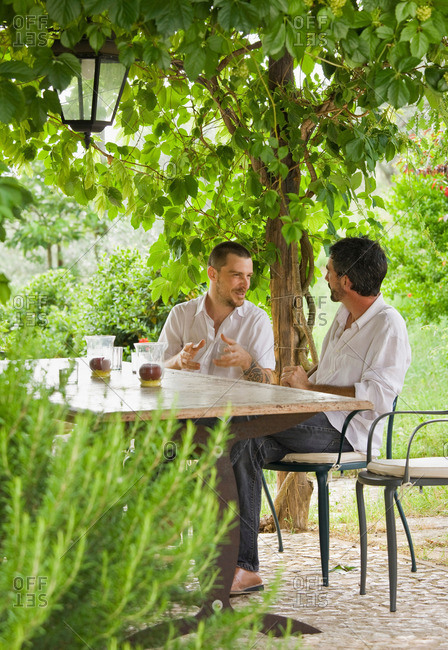 Men relaxing at table in a garden