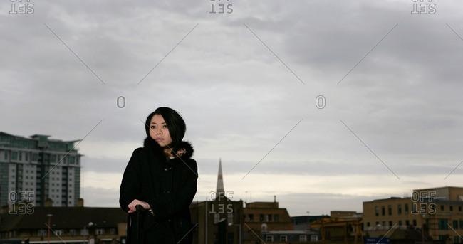 Woman on train platform