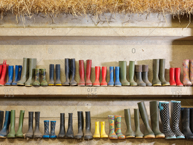 Wellington Boots Against The Wall