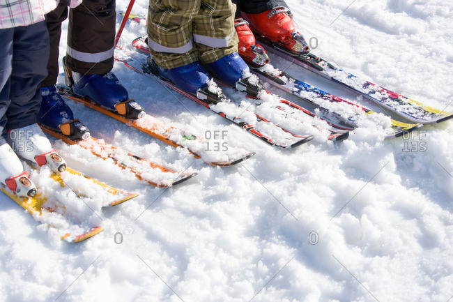 Four pairs of skis