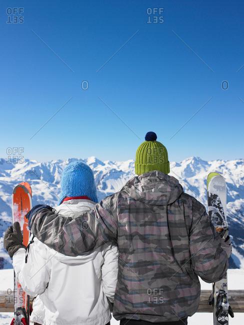 Couple admiring mountain view