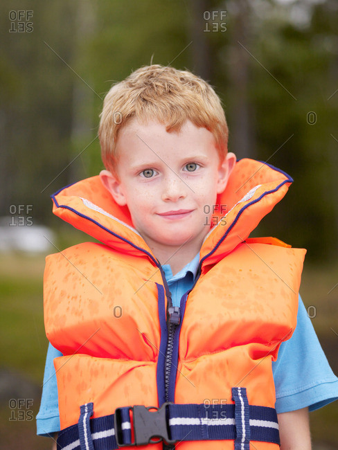 Young boy in a life jacket
