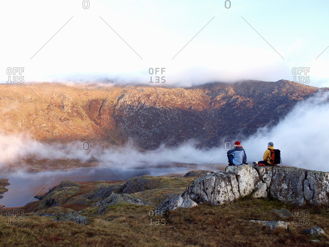 Couple in mountain landscape