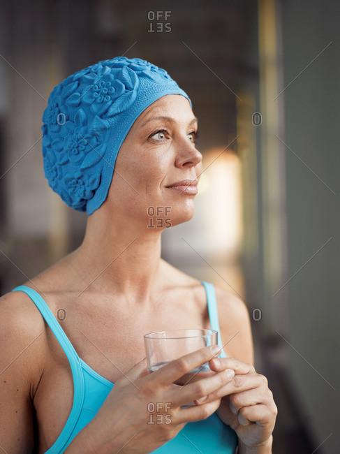 Mature woman wearing bathing suit