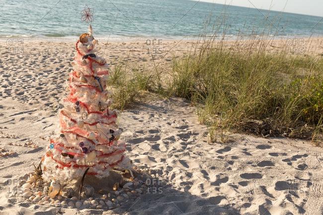 White Christmas tree on a beach