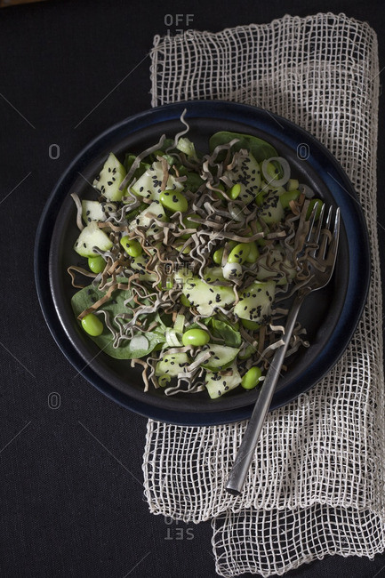 Crunchy black sesame noodle salad with edamame and cucumbers