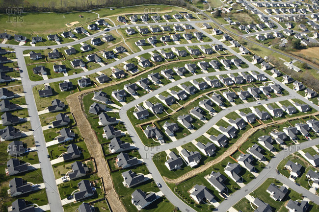 Aerial view of suburban tract homes in the Fletcher community in Asheville NC