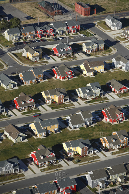 Aerial view of a colorful new low-income housing development right near downtown Nashville, TN
