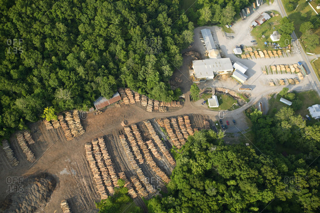 Aerial view of the log yard at Allegheny Wood Products in Riverton, WV.