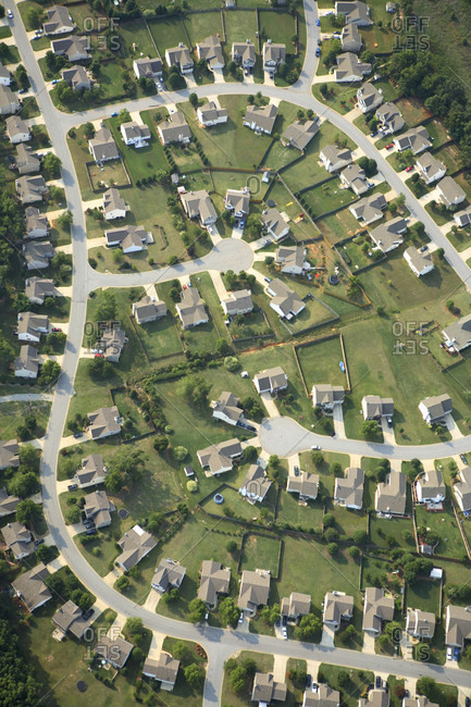 Aerial view of clusters of homes in a planned community near Greenville, SC.
