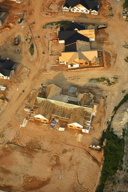 Aerial view of new home construction near Hendersonville, NC.