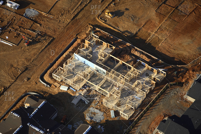 Aerial view of the construction site for a home in a subdivision outside Hendersonville, NC