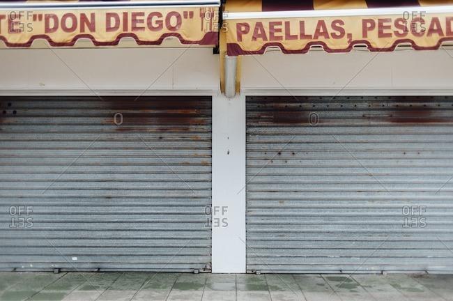 Huelva, Spain - February 8, 2014: Exterior of a closed business