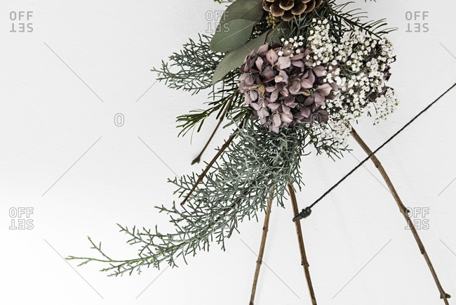 Floral and pine winter decoration