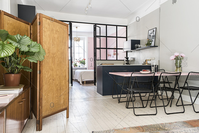 Stockholm, Sweden - July 8, 2015: Interior of an open concept apartment