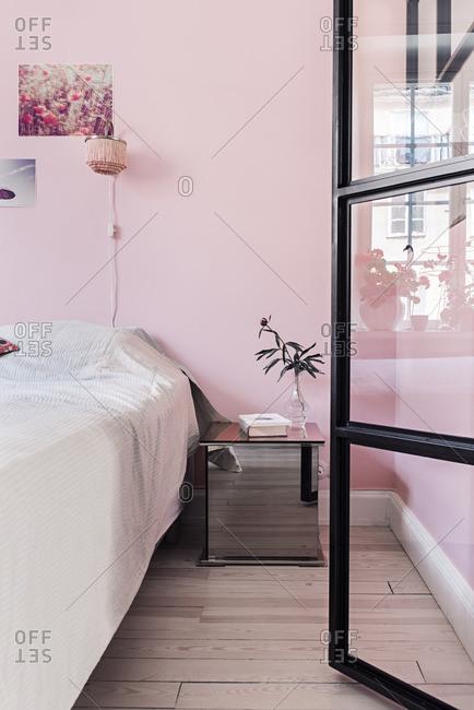 Stockholm, Sweden - July 8, 2015: Pink bedroom interior