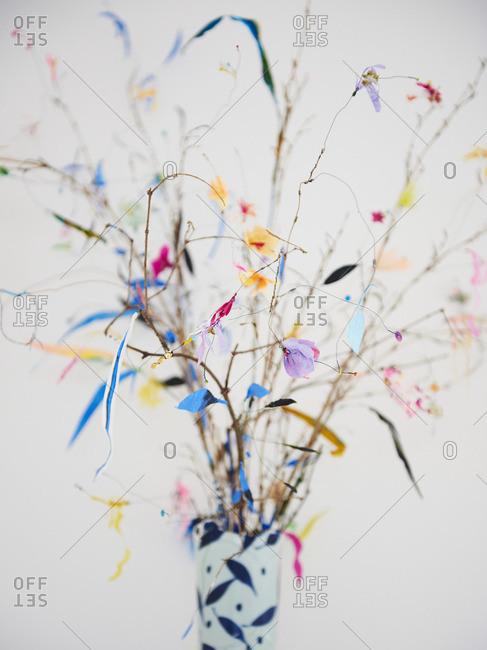 Colorful paper floral arrangement