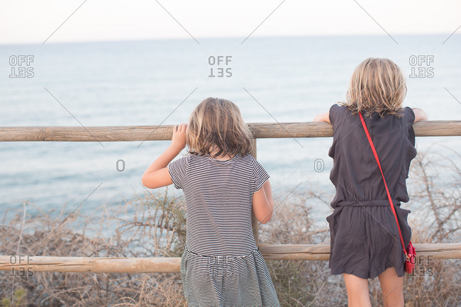 Rear view of girls admiring seascape from wooden fence