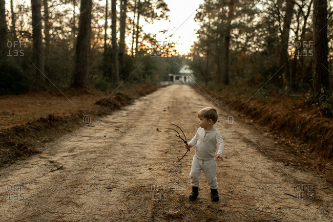 Toddler boy walking down a dirt road with a stick