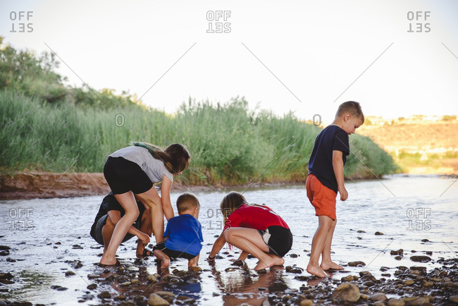 Kids looking for tadpoles by the river
