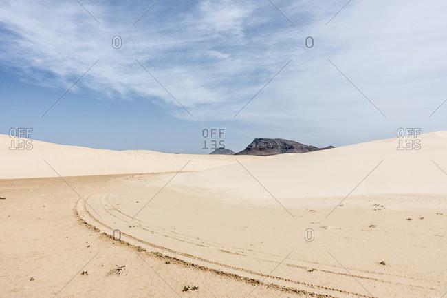 Tracks in the desert sand on the island of Boa Vista, Cape Verde