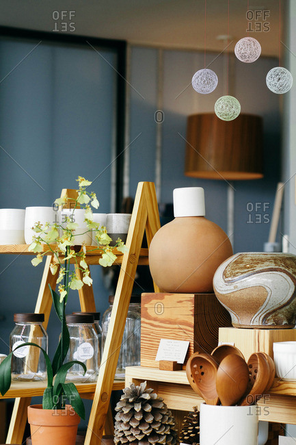 Austin, Texas - November 11, 2015: Wooden spoons, ceramic vases and natural accents at a boutique home d�cor store