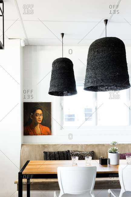 January 20, 2017 - Noosa, Australia: Interior decor of a stylish restaurant
